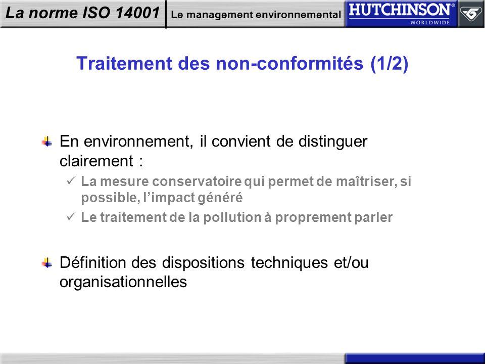 La norme ISO 14001 Le management environnemental Traitement des non-conformités (1/2) En environnement, il convient de distinguer clairement : La mesu