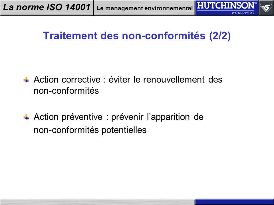 La norme ISO 14001 Le management environnemental Traitement des non-conformités (2/2) Action corrective : éviter le renouvellement des non-conformités