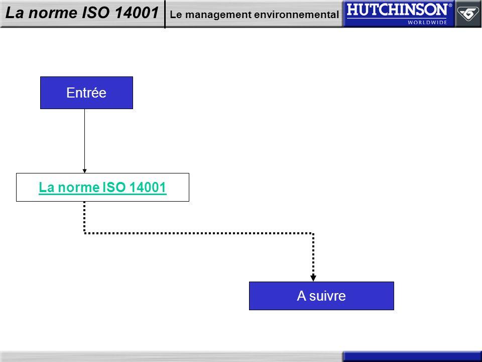 La norme ISO 14001 Le management environnemental Entrée La norme ISO 14001 A suivre