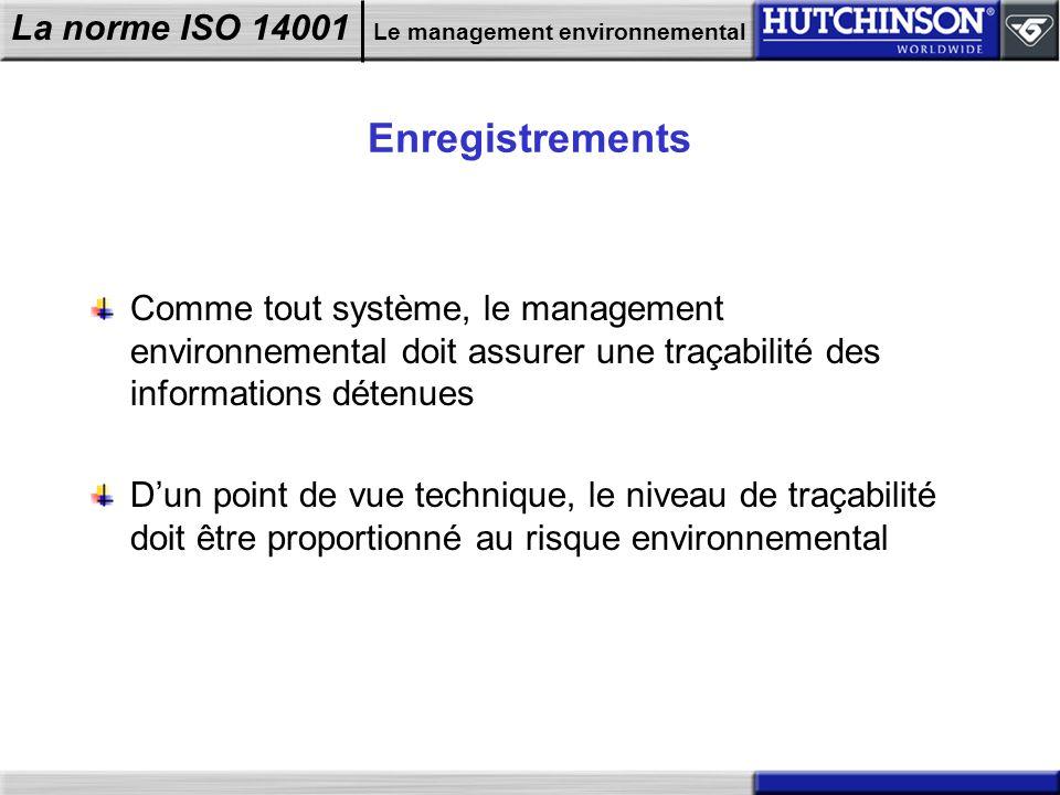 La norme ISO 14001 Le management environnemental Enregistrements Comme tout système, le management environnemental doit assurer une traçabilité des in