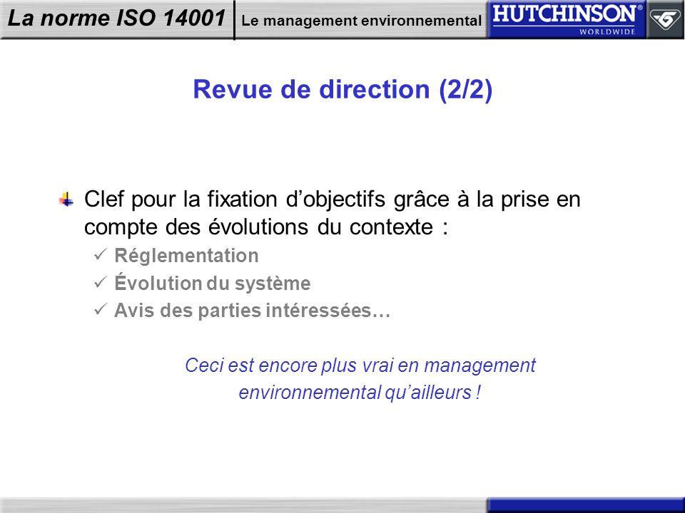 La norme ISO 14001 Le management environnemental Revue de direction (2/2) Clef pour la fixation dobjectifs grâce à la prise en compte des évolutions d