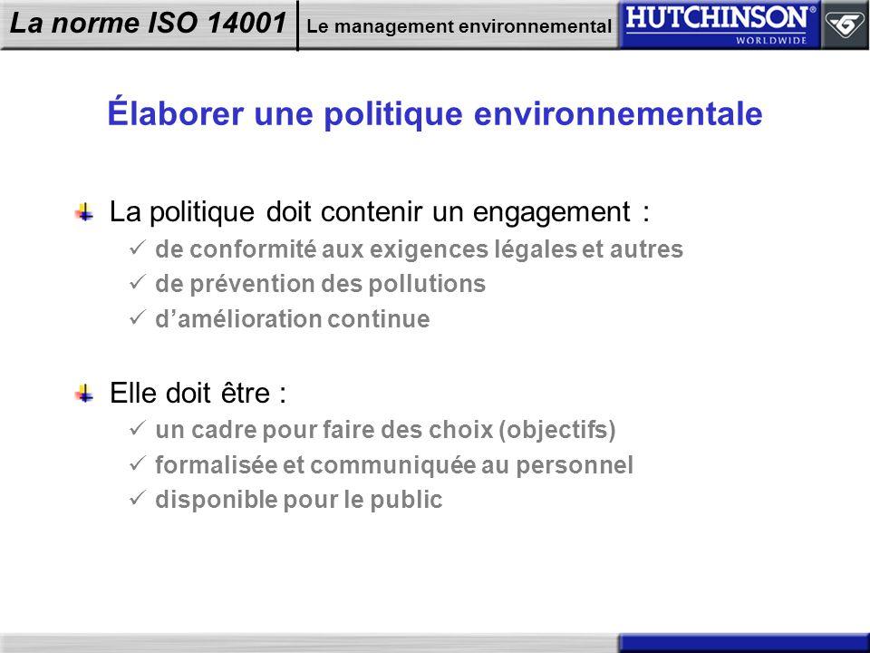 La norme ISO 14001 Le management environnemental Élaborer une politique environnementale La politique doit contenir un engagement : de conformité aux