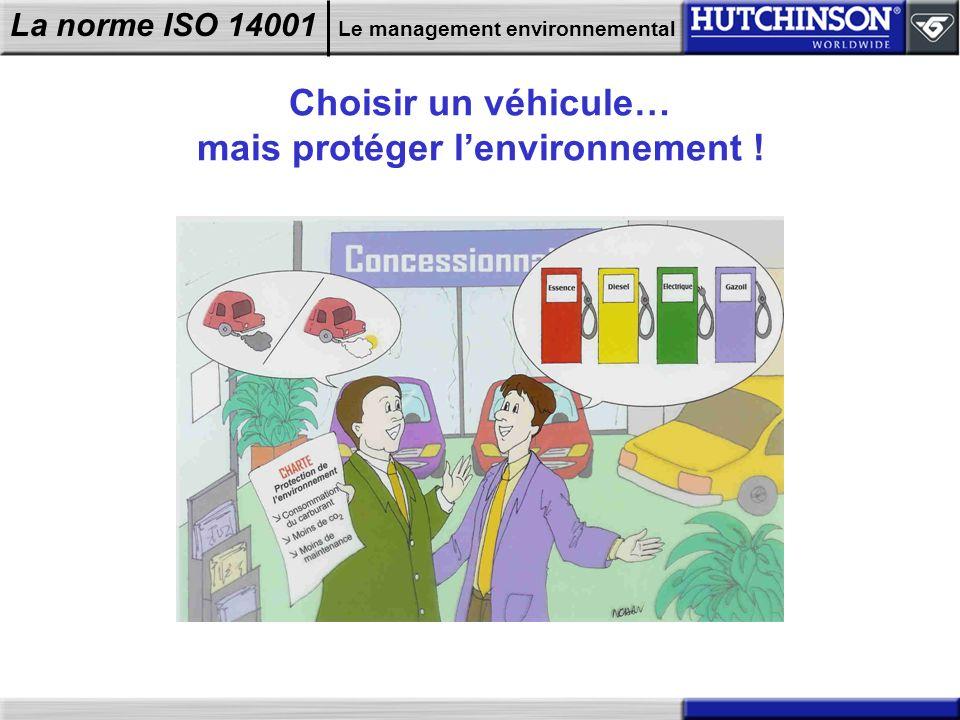 La norme ISO 14001 Le management environnemental Choisir un véhicule… mais protéger lenvironnement !
