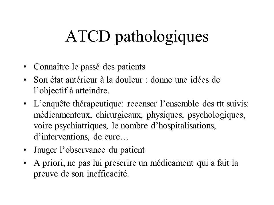 ATCD pathologiques Connaître le passé des patients Son état antérieur à la douleur : donne une idées de lobjectif à atteindre. Lenquête thérapeutique:
