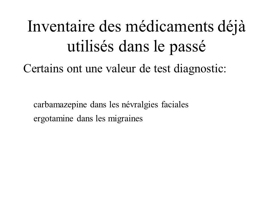 Inventaire des médicaments déjà utilisés dans le passé Certains ont une valeur de test diagnostic: carbamazepine dans les névralgies faciales ergotami