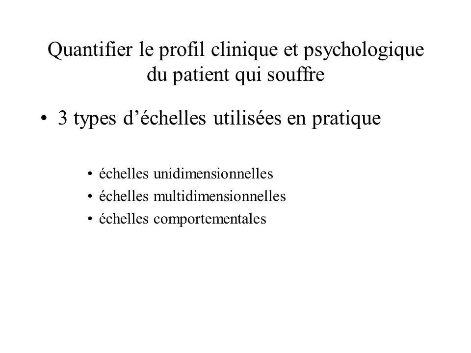 Quantifier le profil clinique et psychologique du patient qui souffre 3 types déchelles utilisées en pratique échelles unidimensionnelles échelles mul