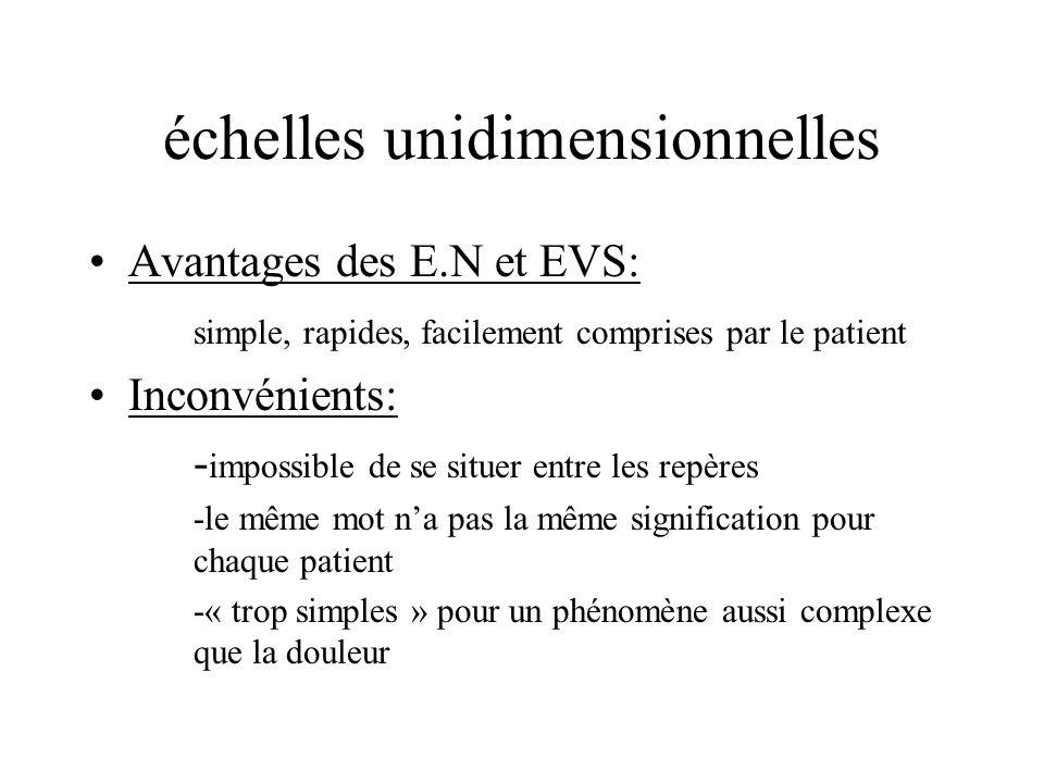échelles unidimensionnelles Avantages des E.N et EVS: simple, rapides, facilement comprises par le patient Inconvénients: - impossible de se situer en