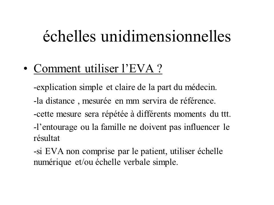 échelles unidimensionnelles Comment utiliser lEVA ? -explication simple et claire de la part du médecin. -la distance, mesurée en mm servira de référe