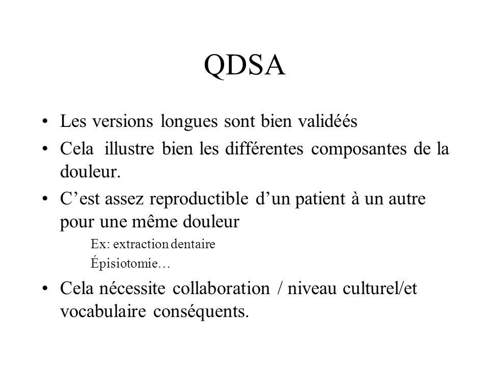 QDSA Les versions longues sont bien validéés Cela illustre bien les différentes composantes de la douleur. Cest assez reproductible dun patient à un a