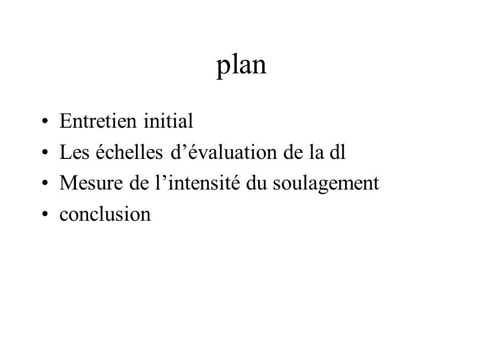 plan Entretien initial Les échelles dévaluation de la dl Mesure de lintensité du soulagement conclusion