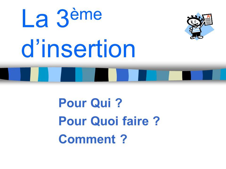 La 3 ème dinsertion Pour Qui ? Pour Quoi faire ? Comment ?