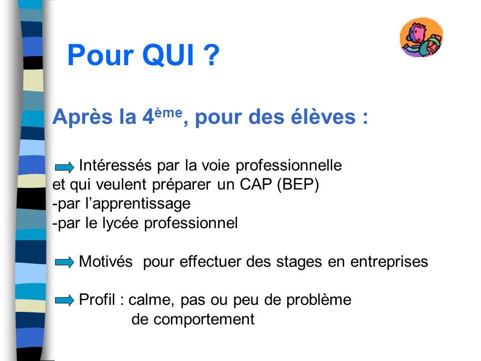 Pour QUI ? Après la 4 ème, pour des élèves : Intéressés par la voie professionnelle et qui veulent préparer un CAP (BEP) -par lapprentissage -par le l