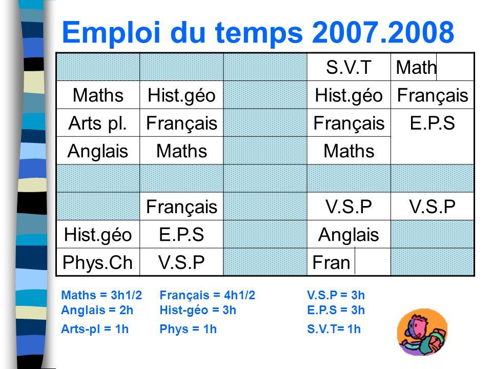 Emploi du temps 2007.2008 S.V.TMath MathsHist.géo Français Arts pl.Français E.P.S AnglaisMaths FrançaisV.S.P Hist.géoE.P.SAnglais Phys.ChV.S.PFran Mat