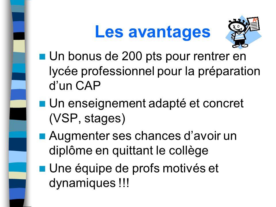Les avantages Un bonus de 200 pts pour rentrer en lycée professionnel pour la préparation dun CAP Un enseignement adapté et concret (VSP, stages) Augm