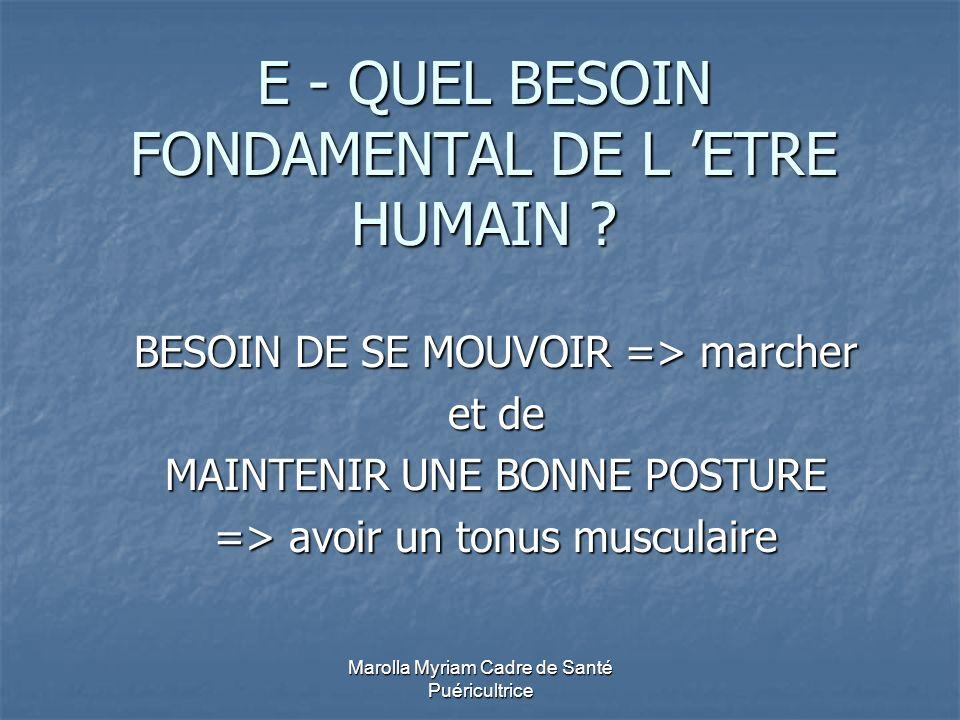 Marolla Myriam Cadre de Santé Puéricultrice E - QUEL BESOIN FONDAMENTAL DE L ETRE HUMAIN ? BESOIN DE SE MOUVOIR => marcher et de MAINTENIR UNE BONNE P