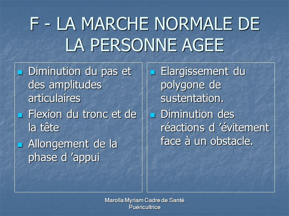 Marolla Myriam Cadre de Santé Puéricultrice F - LA MARCHE NORMALE DE LA PERSONNE AGEE Diminution du pas et des amplitudes articulaires Diminution du p