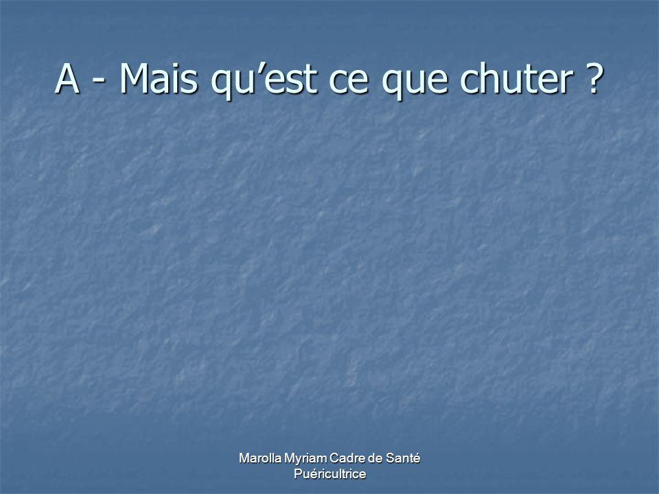Marolla Myriam Cadre de Santé Puéricultrice B - Définition de « CHUTE »selon l O.M.S.