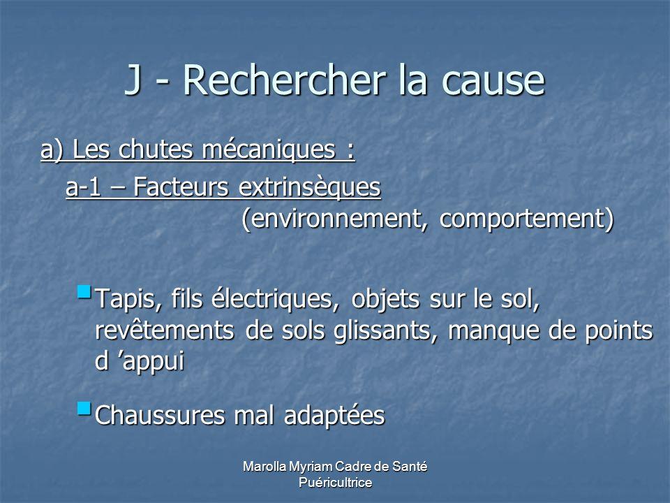 Marolla Myriam Cadre de Santé Puéricultrice J - Rechercher la cause a) Les chutes mécaniques : a-1 – Facteurs extrinsèques (environnement, comportemen