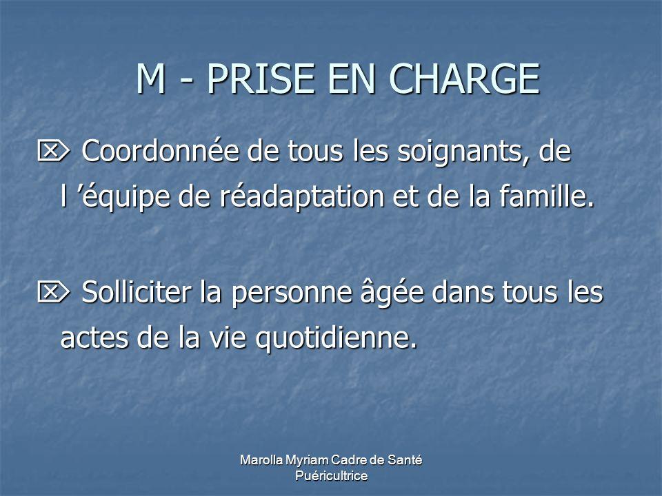 Marolla Myriam Cadre de Santé Puéricultrice M - PRISE EN CHARGE M - PRISE EN CHARGE Coordonnée de tous les soignants, de l équipe de réadaptation et d