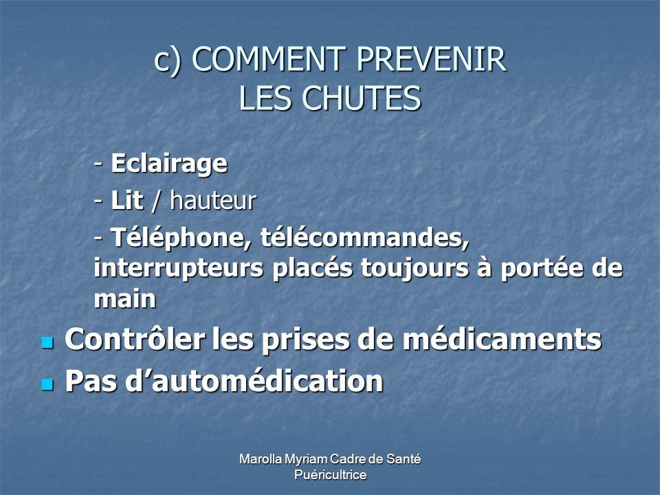 Marolla Myriam Cadre de Santé Puéricultrice c) COMMENT PREVENIR LES CHUTES - Eclairage - Lit / hauteur - Téléphone, télécommandes, interrupteurs placé