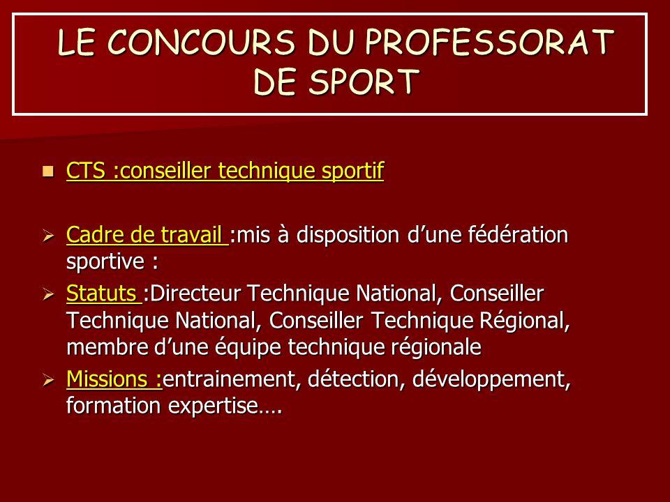 LE CONCOURS DU PROFESSORAT DE SPORT CTS :conseiller technique sportif CTS :conseiller technique sportif Cadre de travail :mis à disposition dune fédér