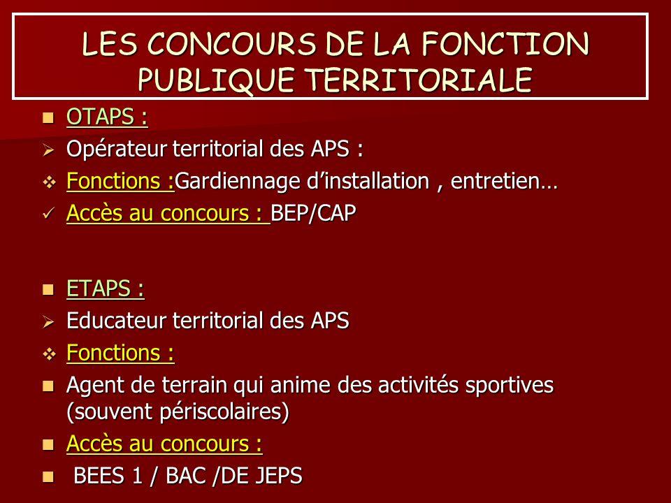 LES CONCOURS DE LA FONCTION PUBLIQUE TERRITORIALE OTAPS : OTAPS : Opérateur territorial des APS : Opérateur territorial des APS : Fonctions :Gardienna
