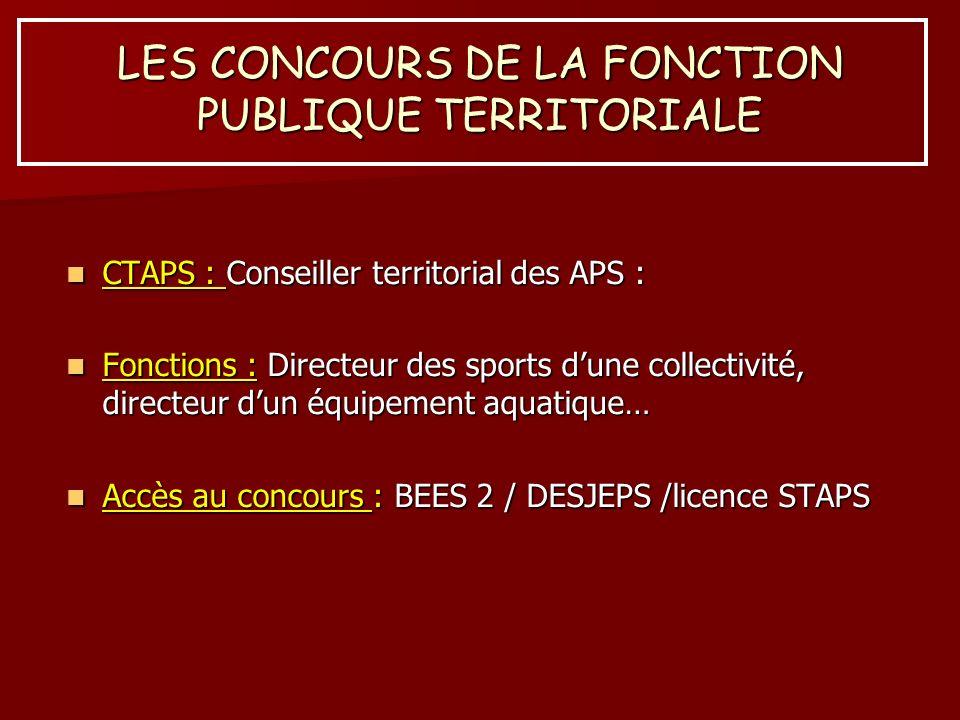 LES CONCOURS DE LA FONCTION PUBLIQUE TERRITORIALE CTAPS : Conseiller territorial des APS : CTAPS : Conseiller territorial des APS : Fonctions : Direct
