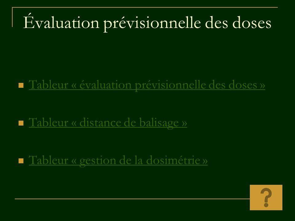 Évaluation prévisionnelle des doses Tableur « évaluation prévisionnelle des doses » Tableur « évaluation prévisionnelle des doses » Tableur « distance