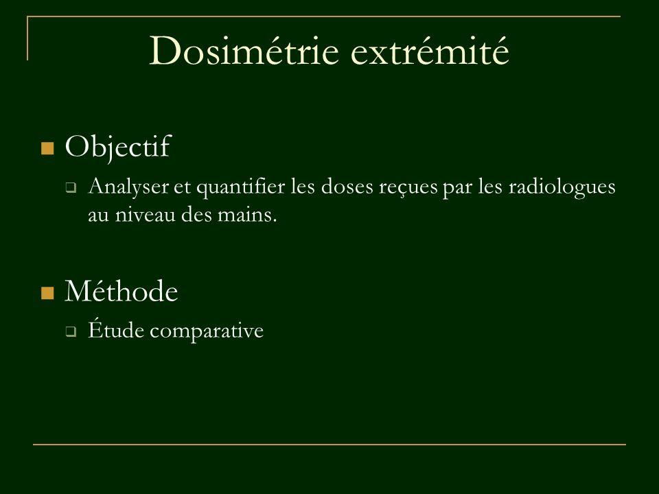 Dosimétrie extrémité Objectif Analyser et quantifier les doses reçues par les radiologues au niveau des mains. Méthode Étude comparative