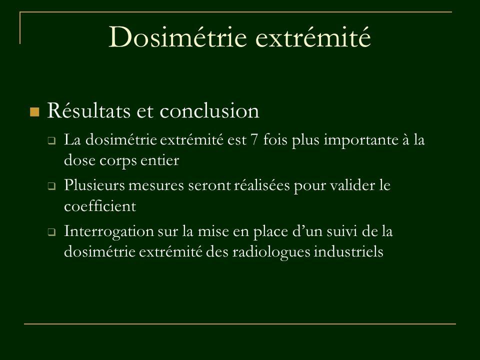 Dosimétrie extrémité Résultats et conclusion La dosimétrie extrémité est 7 fois plus importante à la dose corps entier Plusieurs mesures seront réalis
