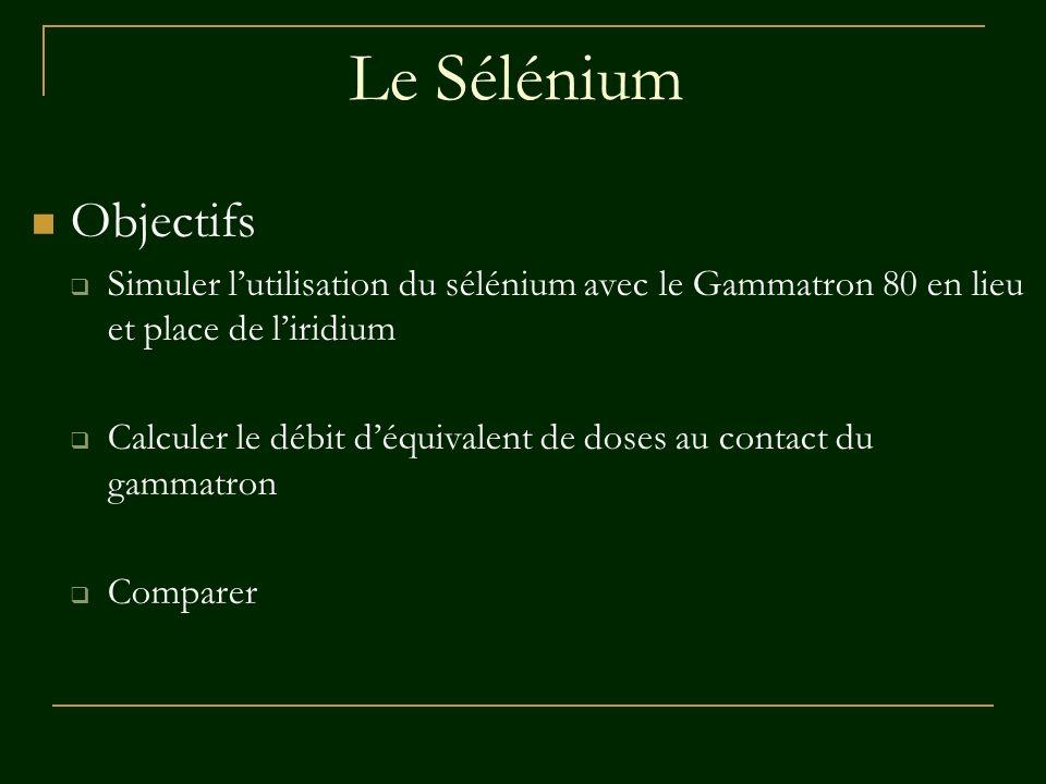 Le Sélénium Objectifs Simuler lutilisation du sélénium avec le Gammatron 80 en lieu et place de liridium Calculer le débit déquivalent de doses au con