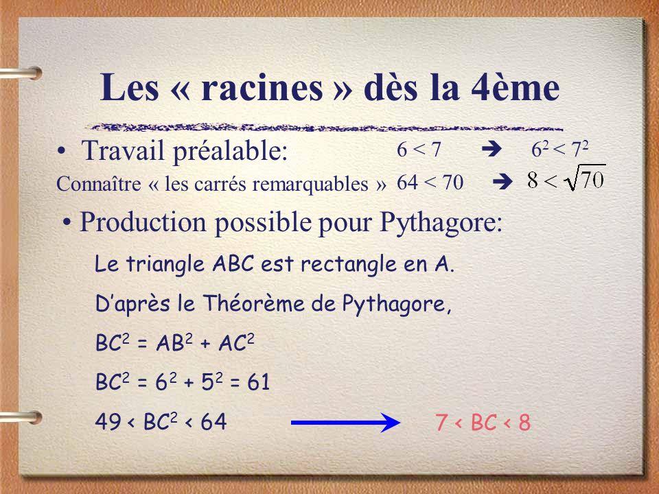 Les « racines » dès la 4ème Travail préalable: Connaître « les carrés remarquables » 6 < 7 6 2 < 7 2 64 < 70 Le triangle ABC est rectangle en A. Daprè