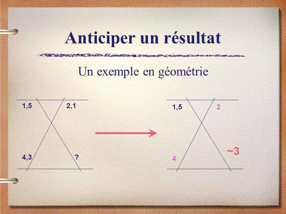 Anticiper un résultat Un exemple en géométrie 1,5 2 4 1,5 2,1 4,3 ? ~3