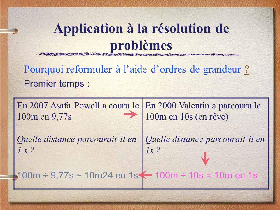 Application à la résolution de problèmes Pourquoi reformuler à laide dordres de grandeur ?? Premier temps : En 2007 Asafa Powell a couru le 100m en 9,