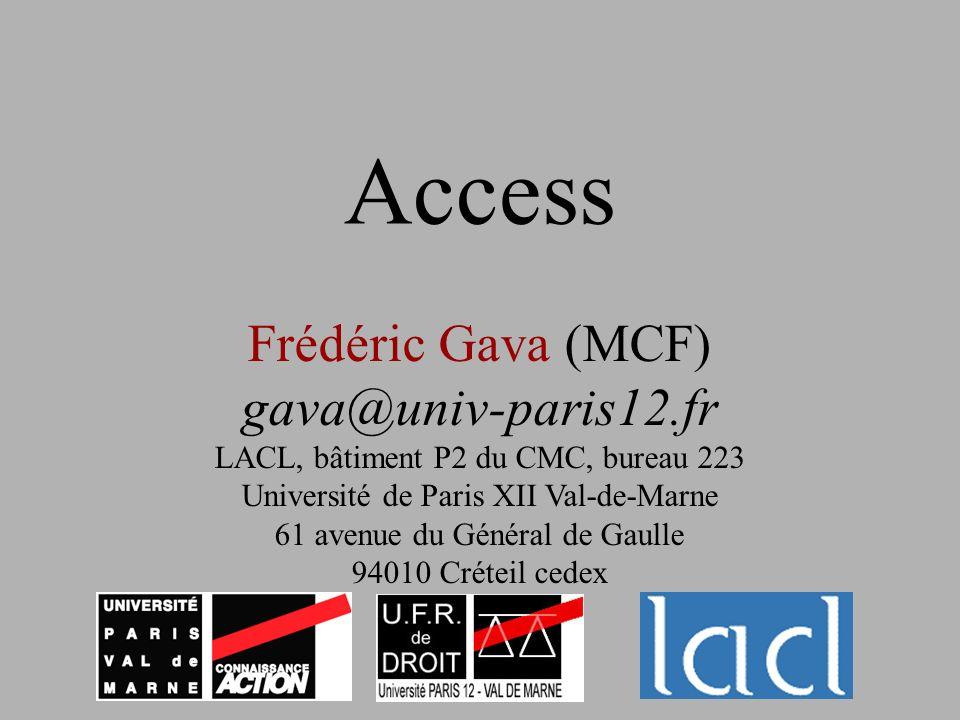 Access Frédéric Gava (MCF) gava@univ-paris12.fr LACL, bâtiment P2 du CMC, bureau 223 Université de Paris XII Val-de-Marne 61 avenue du Général de Gaul