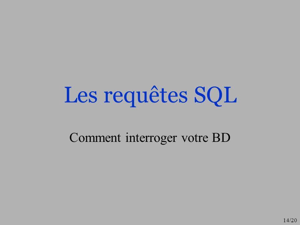 15/20 Création dune requête On clic sur « Requêtes » puis on demande le mode « Création » On rentre dans le mode « Création » graphique dune requête » Pour obtenir le mode SQL, menu « Affichage », option « mode SQL » On peut maintenant écrire notre requête sur la BD Pour exécuter la requête