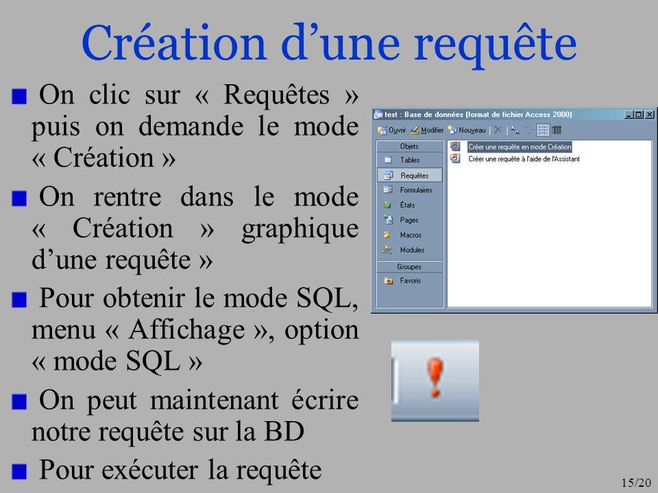 15/20 Création dune requête On clic sur « Requêtes » puis on demande le mode « Création » On rentre dans le mode « Création » graphique dune requête »