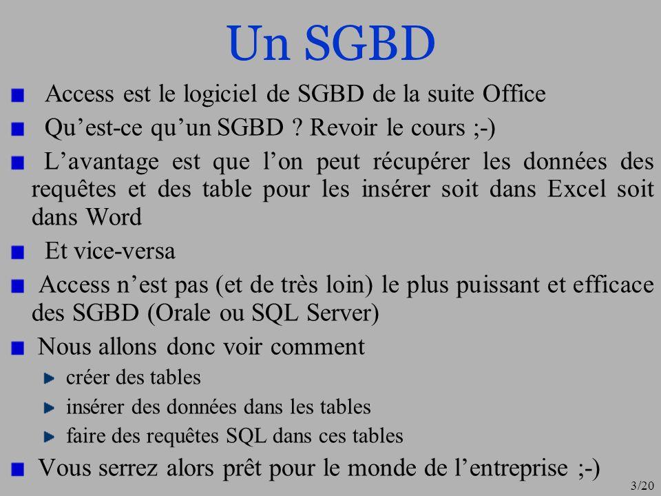 3/20 Un SGBD Access est le logiciel de SGBD de la suite Office Quest-ce quun SGBD ? Revoir le cours ;-) Lavantage est que lon peut récupérer les donné