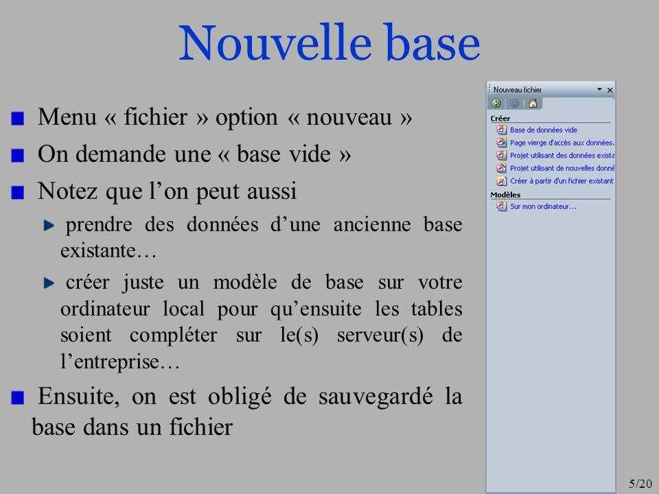 5/20 Nouvelle base Menu « fichier » option « nouveau » On demande une « base vide » Notez que lon peut aussi prendre des données dune ancienne base ex