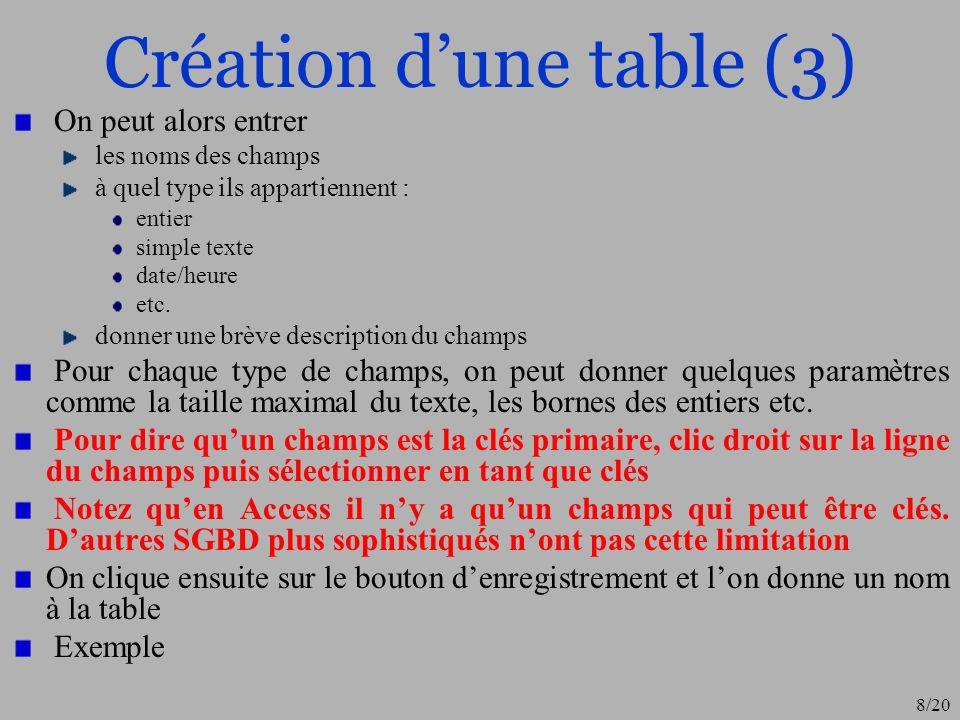 9/20 Création dune table (4) Clés de la relation (table) : elle permet de distinguer de manière unique chaque ligne de la table (les données)