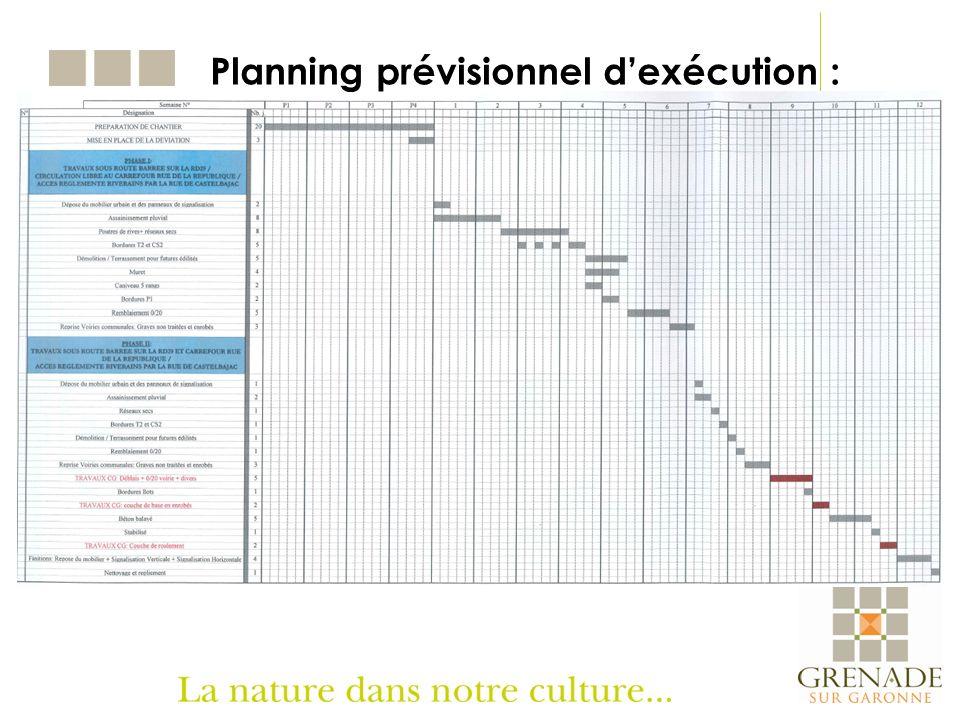 Planning prévisionnel dexécution :