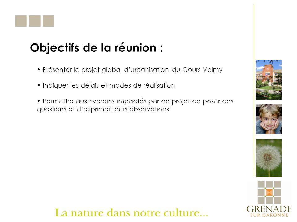 Objectifs de la réunion : Présenter le projet global durbanisation du Cours Valmy Indiquer les délais et modes de réalisation Permettre aux riverains