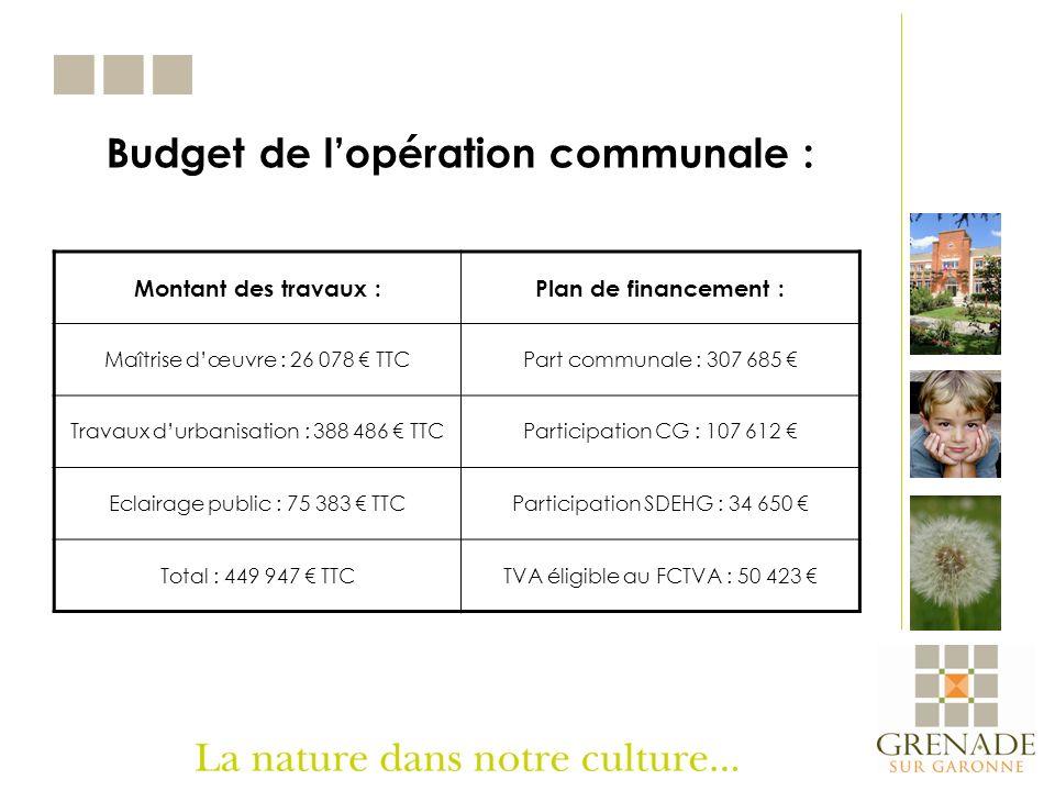 Budget de lopération communale : Montant des travaux :Plan de financement : Maîtrise dœuvre : 26 078 TTCPart communale : 307 685 Travaux durbanisation