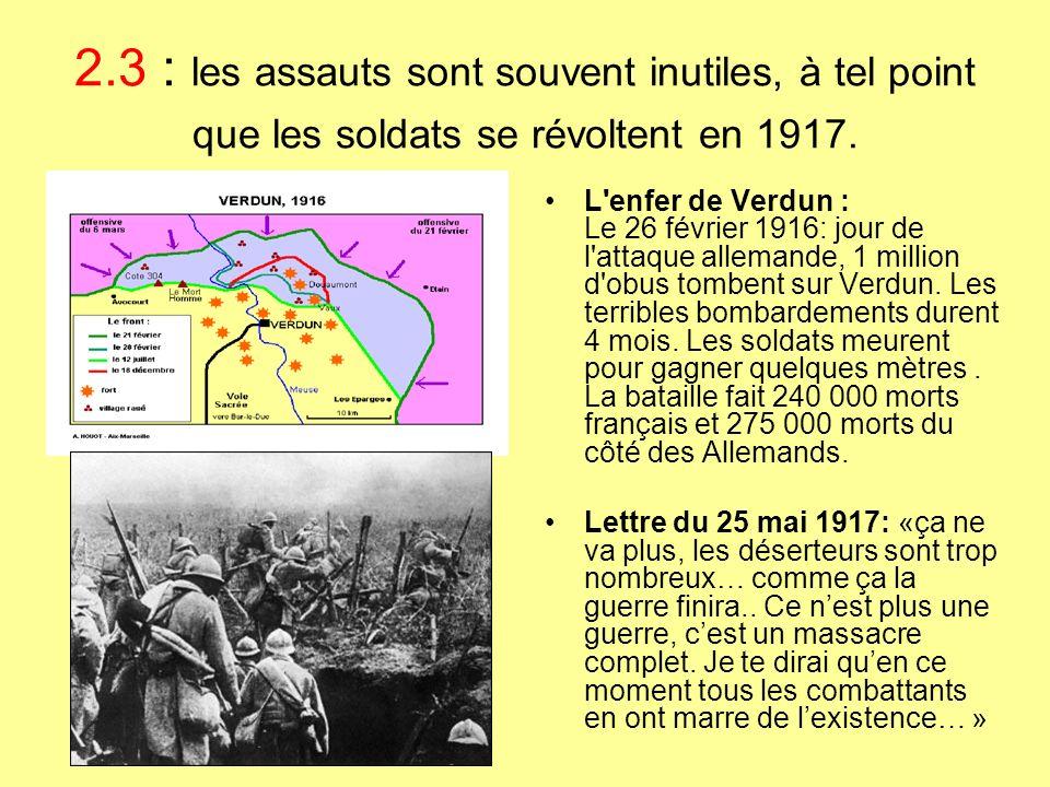 2.3 : les assauts sont souvent inutiles, à tel point que les soldats se révoltent en 1917. L'enfer de Verdun : Le 26 février 1916: jour de l'attaque a
