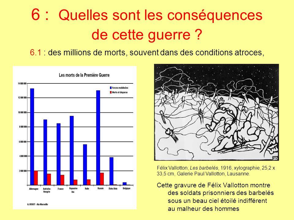 6.1 : des millions de morts, souvent dans des conditions atroces, Cette gravure de Félix Vallotton montre des soldats prisonniers des barbelés sous un