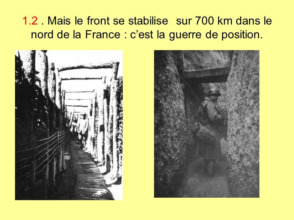 1.2. Mais le front se stabilise sur 700 km dans le nord de la France : cest la guerre de position.