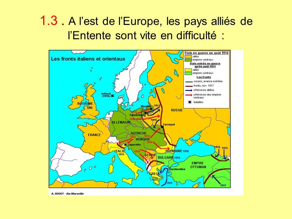 1.3. A lest de lEurope, les pays alliés de lEntente sont vite en difficulté :