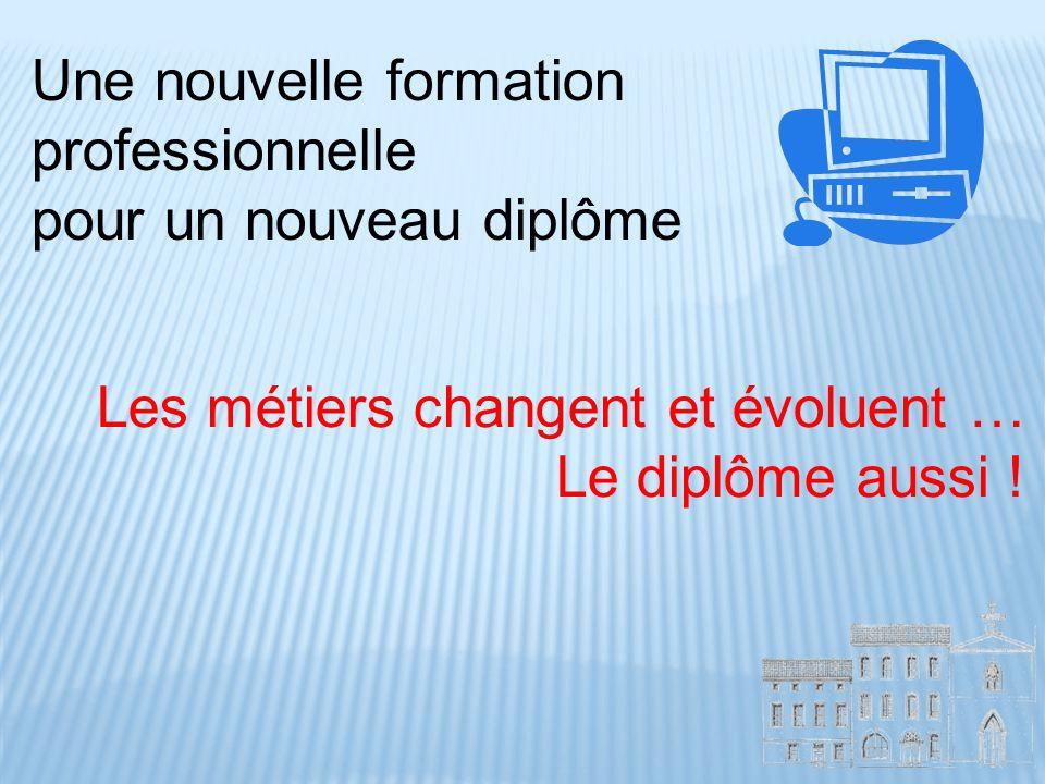 Une nouvelle formation professionnelle pour un nouveau diplôme Les métiers changent et évoluent … Le diplôme aussi !