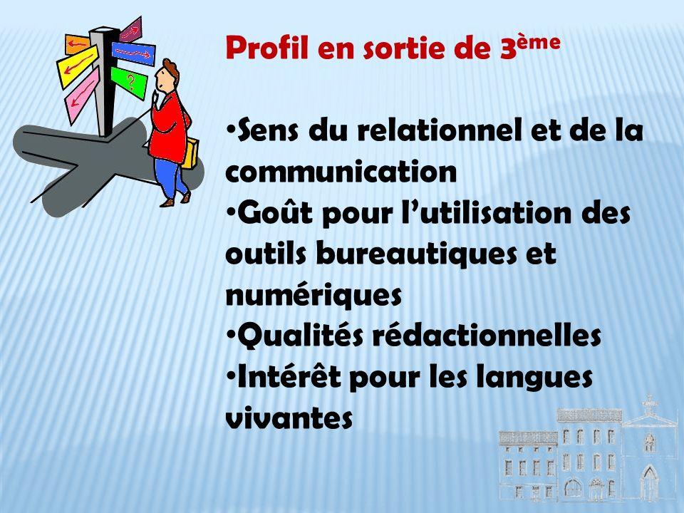 Profil en sortie de 3 ème Sens du relationnel et de la communication Goût pour lutilisation des outils bureautiques et numériques Qualités rédactionnelles Intérêt pour les langues vivantes