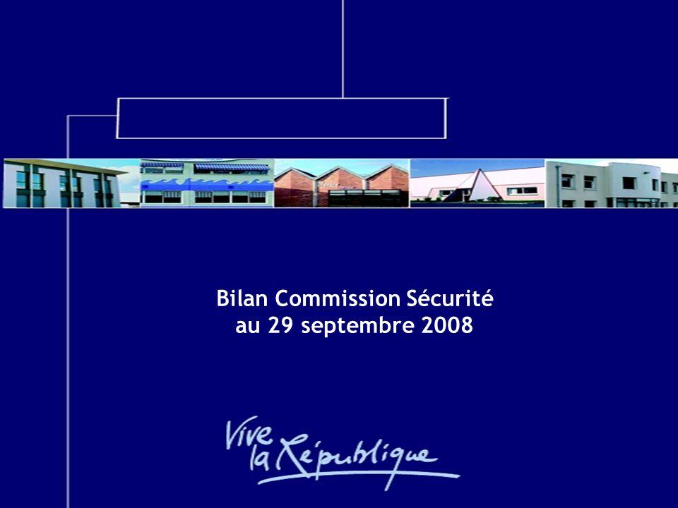 Commission Sécurité 29/09/2008 Bilan Commission Sécurité au 29 septembre 2008